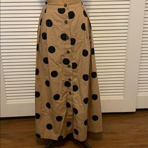 Who What Wear Polka Dot Button Front Skirt